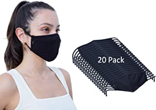 Simlu 20 Pack Premium Fabric Face Mask Reusable with Adjustable Elastic, 2 Layer,Cotton, Breathable, Nose Wire Black Cloth...