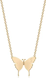 Mevecco Gold Dainty Initial Necklace 18K Gold Plated Butterfly Pendant Name Necklaces Delicate Everyday Necklace for Women...