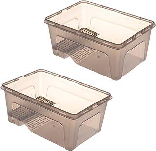 爬虫類 タートル トータス タンク ビバリウム ボックス 3色選べる - ブラック