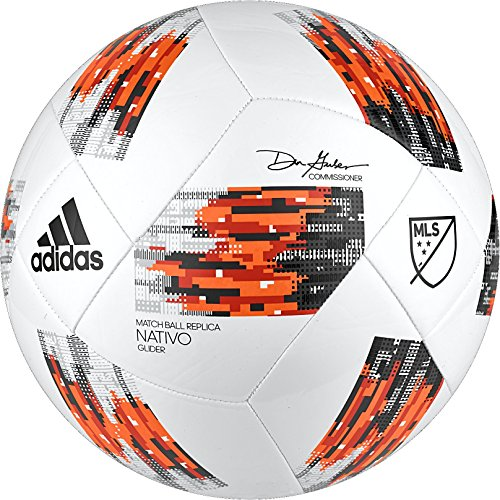 adidas MLS Glider Soccer Ball, White/Orange, Size 3