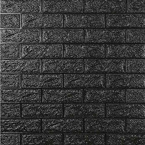 DTC (6 Stück) 77 x 70 cm 3D Selbstklebend Tapete Wasserfest Ziegel Steinoptik Wandtattoo Wandpaneele Wandaufkleber Anti-Kollision Möbelfolie für Schlafzimmer Wohnzimmer Hintergrund TV Decor (Schwarz)