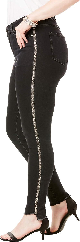 Roamans Women's Plus Size Side-Stripe Skinny Jean by Denim 24/7
