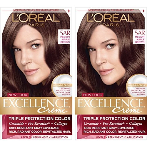 L'Oreal Paris Excellence Creme Permanent Hair Color, 5AR Medium Maple Brown, 100% Gray Coverage Hair Dye, Pack of 2