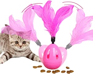 Xqpetlihai Cat Feather for Kitten Self Rotating Toys Toy for Cat Indoor Interactive Cat Toys with Feather Bell Cat Food Dispenser Toy Tumbler Slow Feeder Food Dispenser Ball Treat Toyfor Kitten