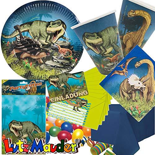 105-tlg. Party-Set * Dinosaurier & T-REX * für Kindergeburtstag & Mottoparty mit Teller + Becher + Servietten + Einladungen + Partytüten + Tischdecke + Luftschlangen + Luftballons | von Lutz Mauder