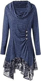 Bravetoshop Asymmetric Blouse, Elastic Scarf Collar Loose Lace Button Long Tunic Dress for Women