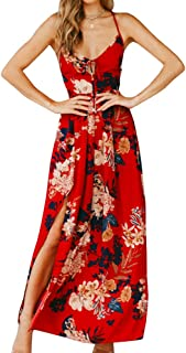 b46fce4ecfd4 Sherrylily Women Floral Printed Lace Up Backless Slit Side Maxi Dress