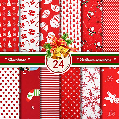 24 Pieces Christmas Fabric Christmas Fat Quarters Fabric Bundles 9.84 x 9.84 Inch Christmas Snowflake Print Squares Christmas Quilting Patchwork Fabric for Sewing Art Crafts