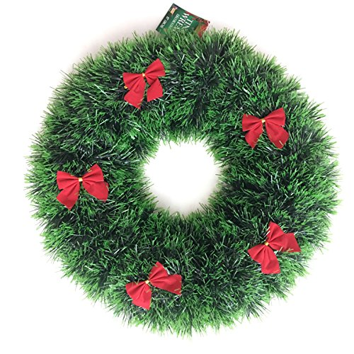 Forum Novelties Green Tinsel Christmas Wreath with Red Bows