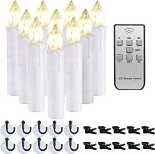 Homemory 10 PCS LED Window Candles with Remote Timer, Flameless Flickering Taper Candles Light with Removable Spikes/Clip...