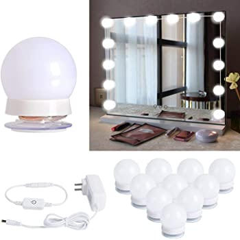 Hollywood Style LED Vanity Mirror Lights Kit with 10 Dimmable
