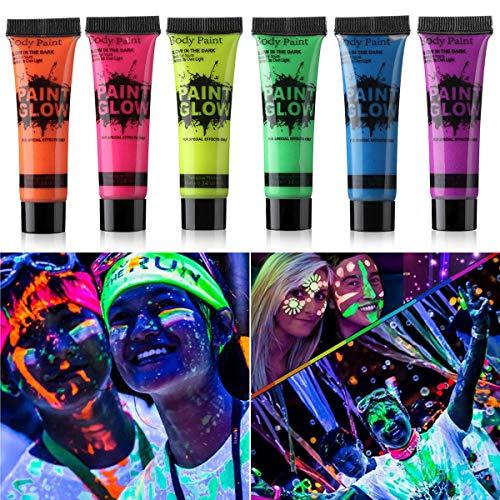 GARYOB Glow in Dark Face Body Paint UV Blacklight Neon Fluorescent 0.34oz Set of 6 Tubes