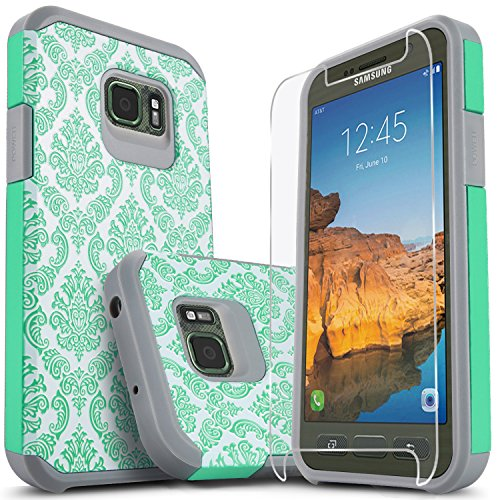 Galaxy S7 Active Case, (Not Fit S7 Or Edge) Starshop [Shock Absorption] Dual Layers Impact Advanced Protective Cover with [Premium Screen Protector] for Samsung Galaxy S7 Active (Teal Lace)