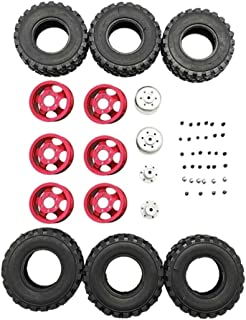 HONG YI-HAT DIY Double Tire Metal Wheel KIT for Wpl B14 B24 Q62 Q63 1/16 Truck 4WD Rc Car Parts スペアパーツ (Color : Red)