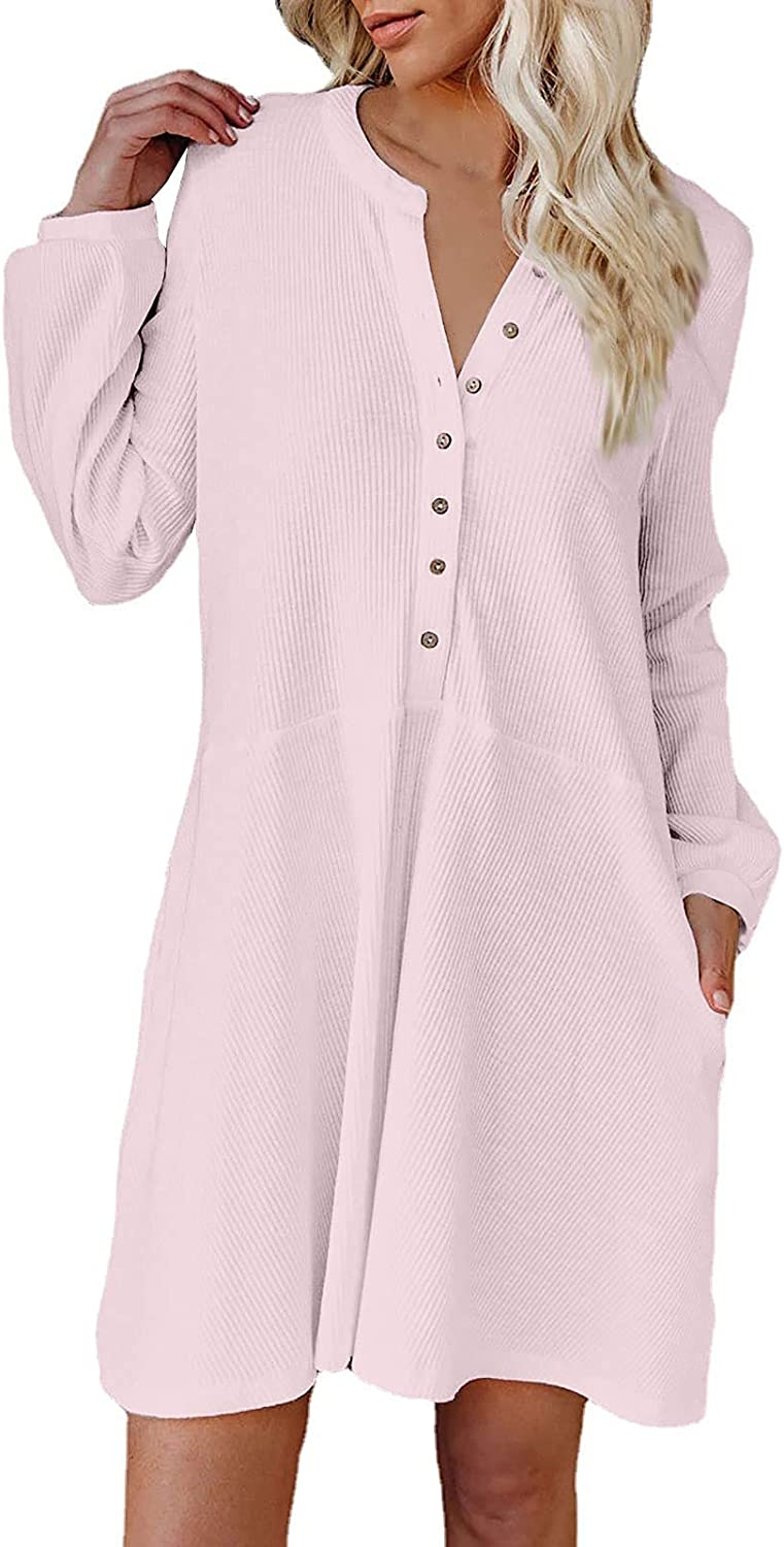Button Down Dress overseas for Women Winter V-Neck ! Super beauty product restock quality top! Knit Sweater Wa