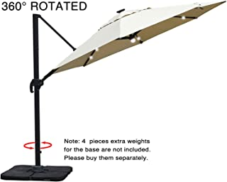 Mefo garden 11 Feet Offset Cantilever Umbrella, 360° Rotated Outdoor Patio Umbrella with Solar LED Lights for Garden, Backyard with Cross Base, 250gsm Round Canopy, Beige