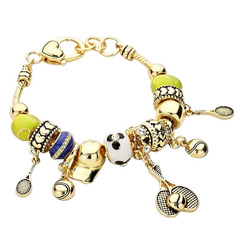 Rosemarie Collections Women's Tennis Theme Beaded Charm Bracelet