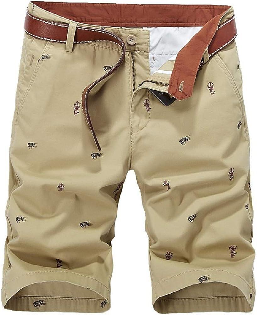 CHARTOU Men's Classic Fit Natural Waist Knee Length Work Wear Bermuda Cargo Shorts