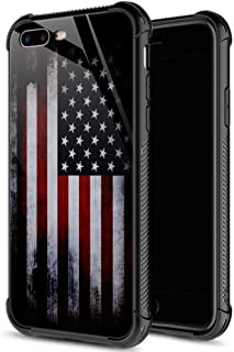 iPhone 8 Case,9H Tempered Glass iPhone 7 Cases for Boys Men,Red Old Flag Pattern Shockproof Anti-Scratch Case for Apple iPhone 7/8 4.7 inch Old Flag