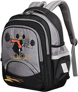 Sturdy New Children's Doubles Shoulder Handbag Backpack Schoolbag Grade Pupils Large Capacity (Color : Gray)