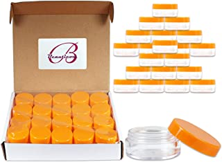 40 New empty 10 Gram (0.35 oz) Plastic Pot Jars – BPA FREE Clear Round Acrylic Container for Travel, Cosmetic, Makeup, Bead, Sample, Lip Balm, Candy, Herbs, Eye Shadow 10g/10ml (Orange Screw Lid)