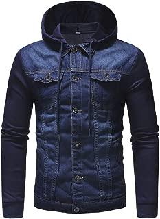 Men's Long Sleeve Hoodies Vintage Denim Button Down Jacket Coat Outwear
