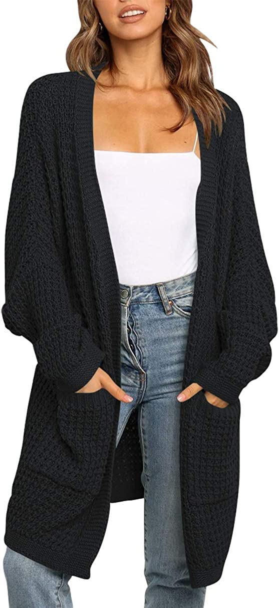 ANRABESS Women's Long Batwing Sleeve Open Front Chunky Knit Cardigan Sweater with Pockets