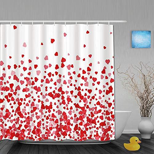 Honeytecs Tenda da Doccia Design Stampato 3D,Cuore San Valentino Cuore Rosso Che Cade, con 12 Ganci di plastica 180 * 200cm