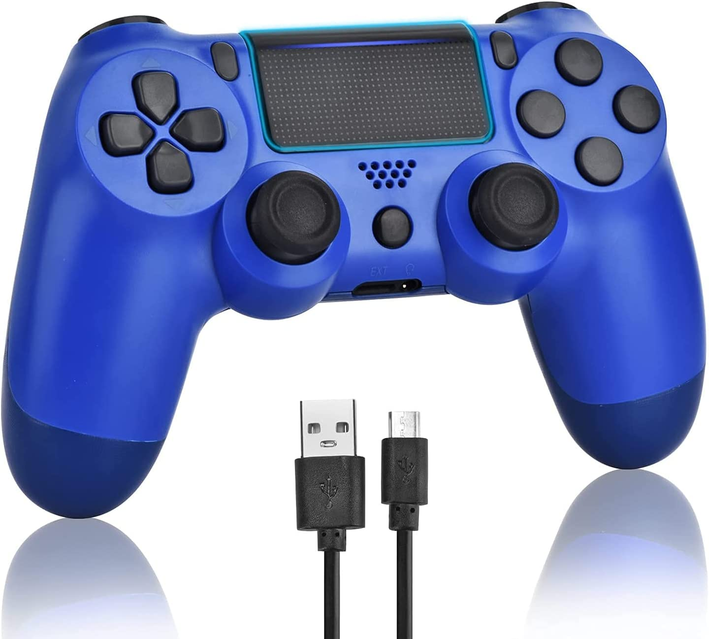 Wiv77 Wireless Game Controller, Controller Remote Control with Charging Cable and Two Motors (Blue)