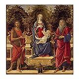 Pintura al óleo de Botticelli 'Madonna con santos' reproducción de lienzo, póster de decoración de arte, cuadro de arte de pared para sala de estar, galería de 30x30 cm sin marco