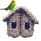 EZIZB Cabanes À Oiseaux Suspendues avec Toit en Pente Double Nid D'oiseau Résistant À La Pourriture Tissée par Herbe pour Moineau Oiseau Sauvage, Jardin Décoratif en Plein Air Décoratif