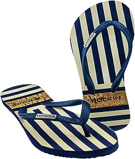 Women's Flip Flops Sandals - Cabana Resort Fashion Couture Striped Sandals - Soft Footbed Slide Beach Sandals Casual