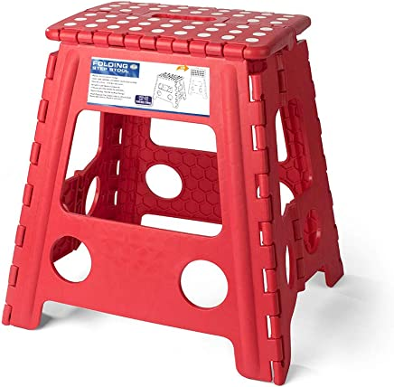 Acko 16 英寸*折叠踏凳适合成人和儿童,红色厨房踏脚凳,花园踏步凳,可容纳 400 磅