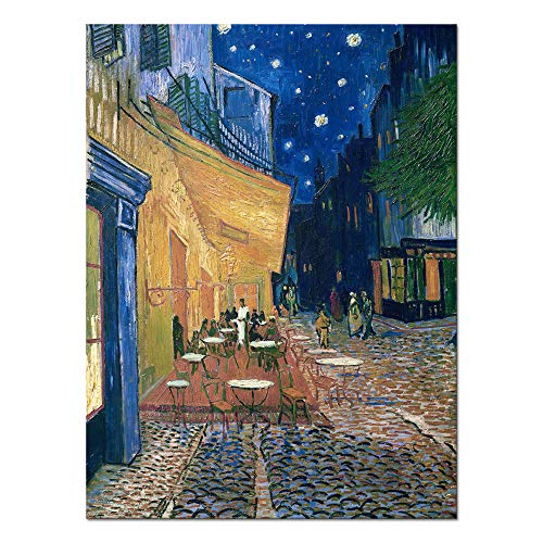Wieco Art Cafe Terrace at Night Modern Stretched and Framed Giclee Canvas Prints Van