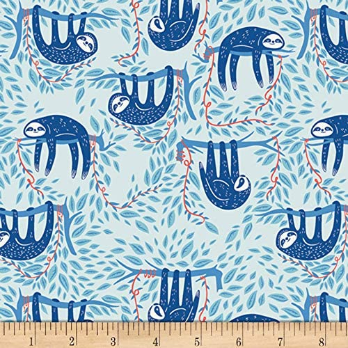 Art Gallery Selva Swaying Sloths Sky by Quilting th San 2021 model Francisco Mall Blue Fabric