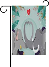 Ethel Ernest Elephant in Love Romance Double Sided Family Flag Polyester Outdoor Flag Home Party Decro Garden Flag 12x18 in