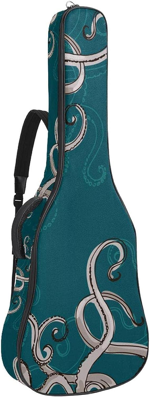 Bolsa para guitarra acústica con bolsillo de 0.4 pulgadas, esponja acolchada extra gruesa, impermeable, tela Oxford, estuche para guitarra con asa y correa para el hombro, Monster Octopus