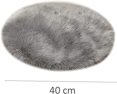 Round Artificial Wool Material Carpet Floor Mat Thickened Plush Bedroom Carpet Window Decoration Crawling Carpet (White)