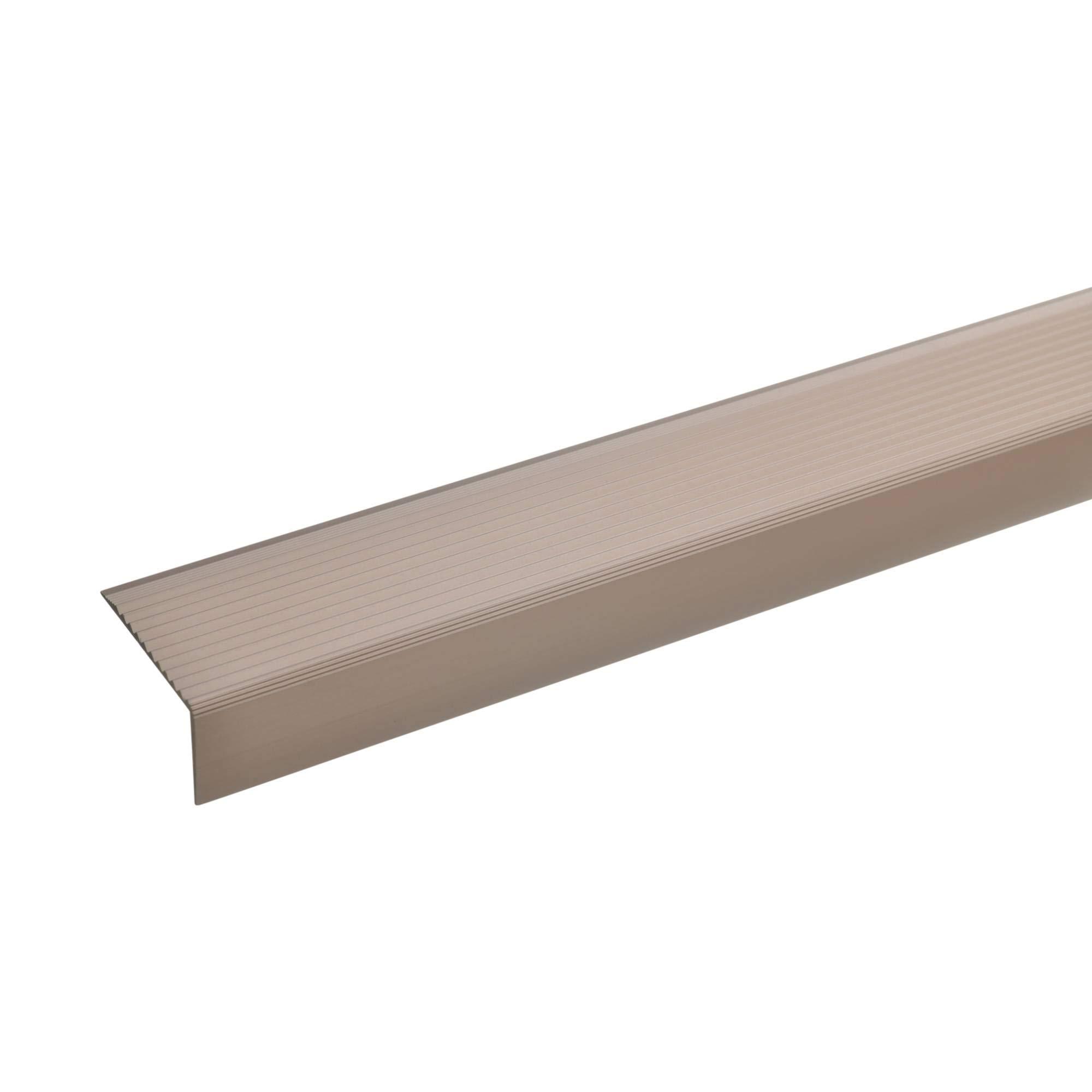 acerto 51031 Perfil angular de escalera de aluminio - 100cm 20x40mm bronce claro Antideslizante I Robusto I De fácil instalación Perfil de borde de escalera perfil de peldaño de escalera de aluminio: