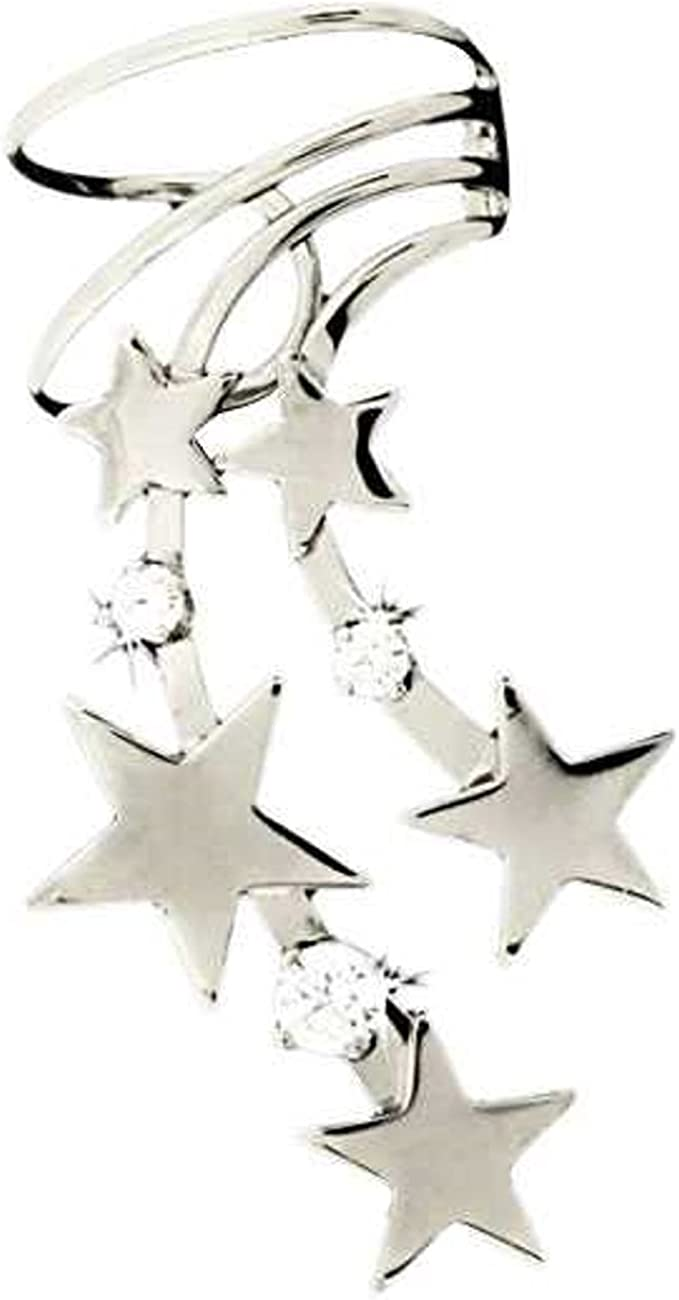 Sterling Silver Over item handling National products Right Only Pierceless Ear W Stars Cuff Celestial