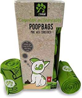ZPAW Compostable and Biodegradable Dog Poop Bags Made with Corn Starch   Large Environmentally Friendly Dog Waste Bags Certified 100% Compostable and Biodegradable - 480 Pet Waste Bags