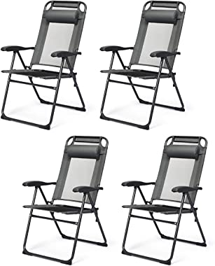 Giantex Set of 4 Patio Dining Chairs, Folding Lounge Chairs with 7 Level Adjustable Backrest, Headrest, 300 Lbs Capacity, Out
