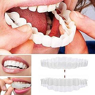 HQSF 2 pcs Dentadura,simulación de Silicona Superior E Inferior Reutilizable para Adultos Dentadura Set Cosméticos, on Smile Blanqueamiento De La Fit