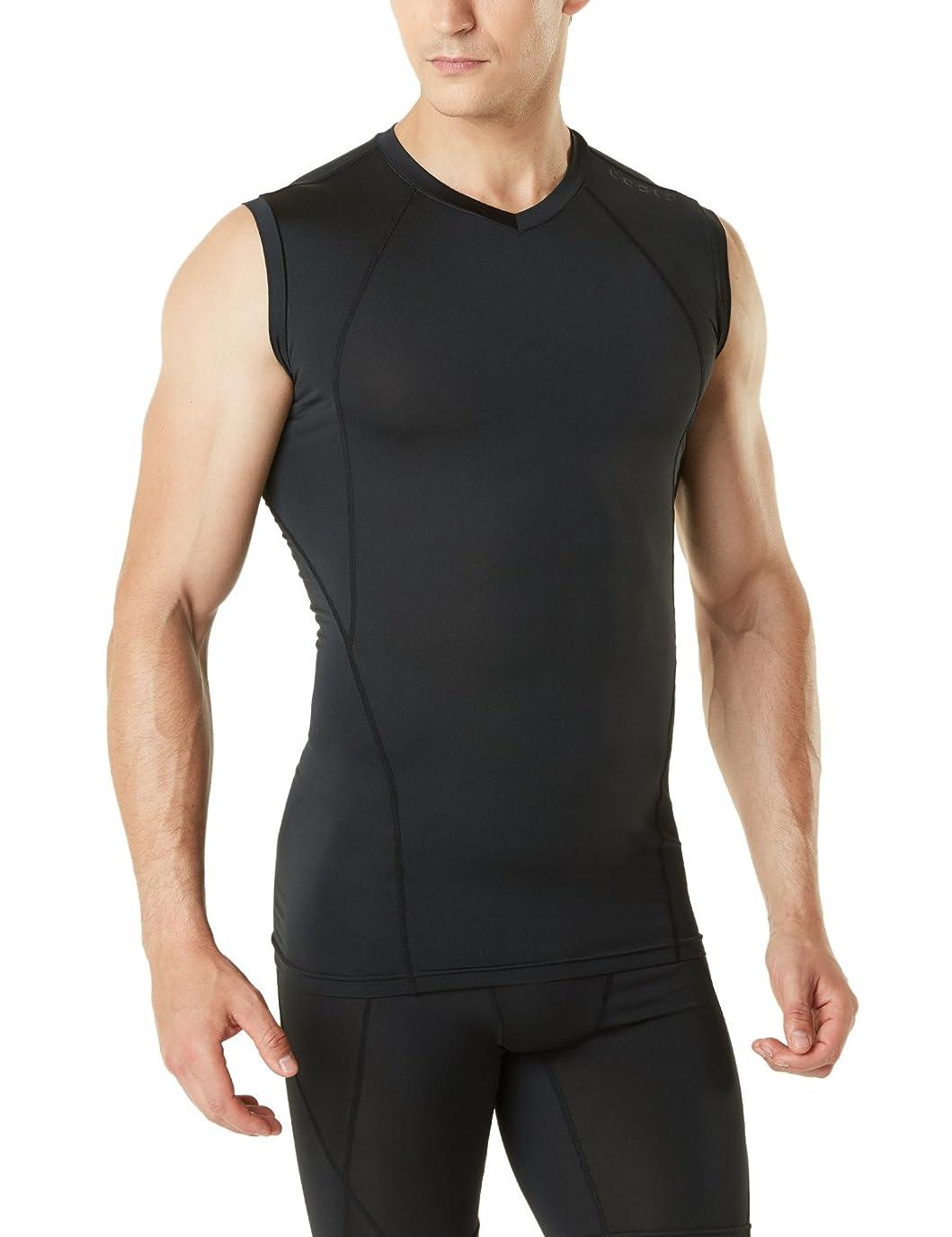 メトロポリタン具体的に評議会(テスラ)TESLA メンズ スリーブレス Vネック スポーツシャツ [UVカット?吸汗速乾] コンプレッションウェア パワーストレッチ アンダーウェア