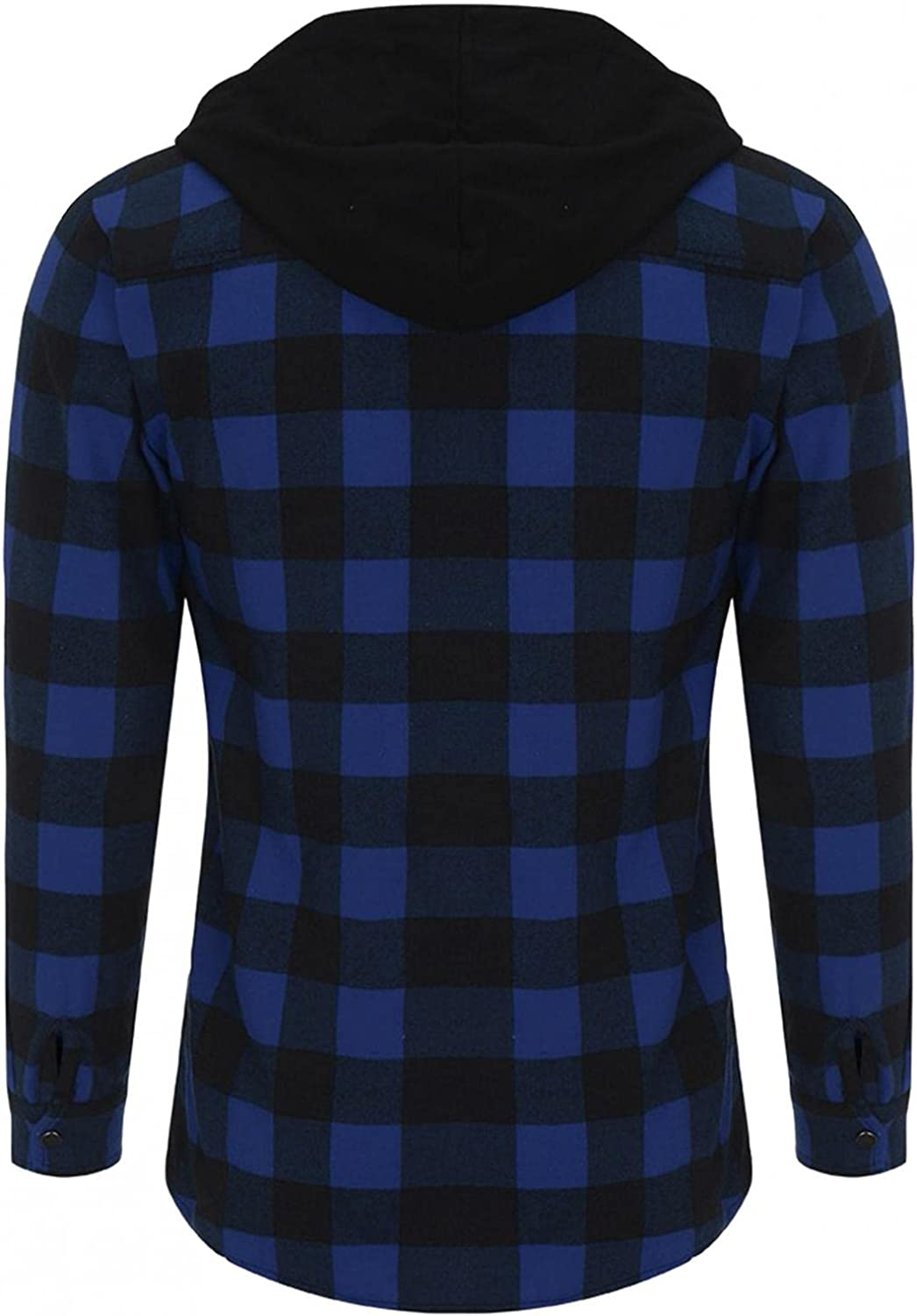 LEIYAN Men Checkered Hoodie Pullover Casual Long Sleeve Slim Fit Plaid Flannel Sweatshirt Active Sport Button Down Jackets