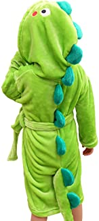 Kids Boys Animal Plush Bathrobe Dinosaur Hooded Fleece Sleep Robe Housecoat 3-8 Years (Dinosaur, 6-8 Years)