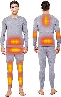 Heating Thermal Underwear,Winter Plus Velvet Thermal Underwear 10 Pcs Heating Zone Smart Electric Heating Underwear Set fo...