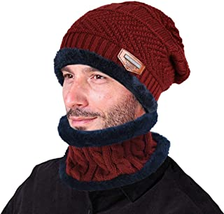 AVIGOR Beanie Hat Scarf Set Winter Warm Hats Knit Slouchy Thick Skull Cap for Men and Women (Red, One Size)