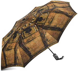 INTERESTPRINT Old Wooden Chest Trunk in Golden Color and Rusty 100% Polyester Pongee Windproof Fabric Travel Umbrella, Compact Automatic Open and Close Folding UV and Rain Umbrella