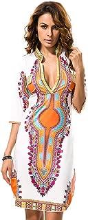 V Neck Half Sleeves Dashiki Print African Bodycon Dress Women Casual Mini Dress